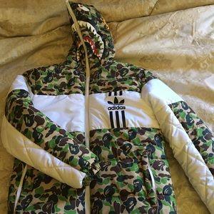 8b54cacddbb3 Bape Jackets   Coats - FW16 Bape X adidas Firebird Shark Puffer M